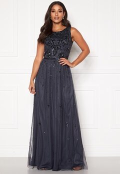 AngelEye Scatter Sequin Maxi Dress Gunmetal Bubbleroom.se