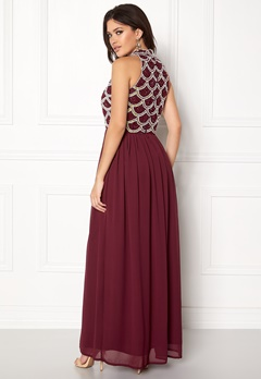 AngelEye Sequin Bodice Maxi Dress Burgundy Bubbleroom.fi