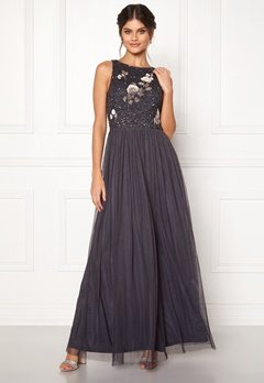 AngelEye Sequin Bodice Maxi Dress Gunmetal Bubbleroom.se
