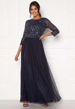 AngelEye Sequin Bodice Maxi Dress Navy Bubbleroom.se