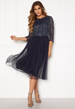 AngelEye Sequin Bodice Mid Dress Navy Bubbleroom.se