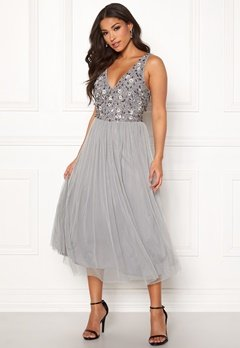 AngelEye Sequin Flower Midi Dress Grey Bubbleroom.se