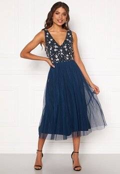 AngelEye Sequin Flower Midi Dress Navy Bubbleroom.se
