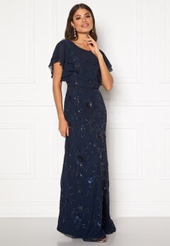 AngelEye Sequin Flutter Maxi Dress Navy Bubbleroom.se