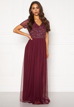 AngelEye Short Sleeve Sequin Dress Burgundy Bubbleroom.se