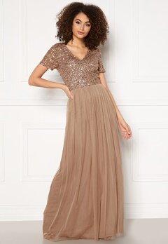 AngelEye Short Sleeve Sequin Dress Taupe Bubbleroom.se