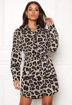 AX Paris Animal Print Shirt Dress Grey Leo Bubbleroom.se