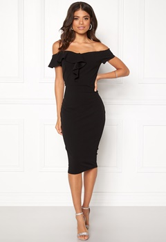 AX Paris Bardot Frill Detail Midi Dress Black Bubbleroom.se