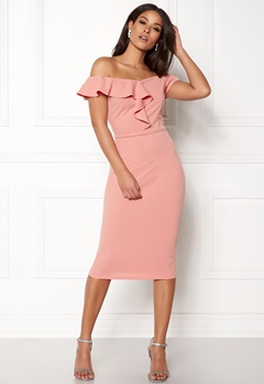 AX Paris Bardot Frill Detail Midi Dress Blush Bubbleroom.se