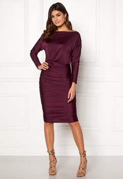 AX Paris Boat Neck Midi Dress Plum Bubbleroom.se