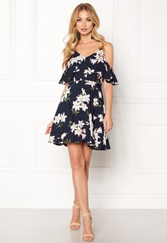 AX Paris Cold Shoulder Frill Dress Navy Bubbleroom.dk