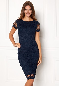 AX Paris Crochet Lace Midi Dress Navy Bubbleroom.fi