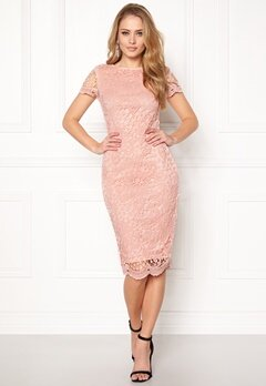 AX Paris Crochet Lace Midi Dress Pink Bubbleroom.fi