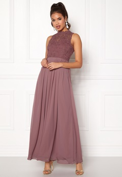 AX Paris Crochet Top Chiffon Maxi Mauve Bubbleroom.se
