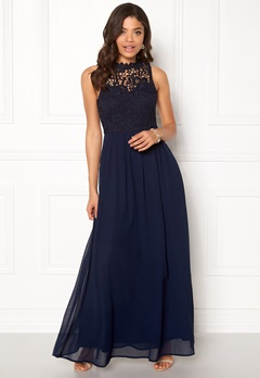 AX Paris Crochet Top Chiffon Maxi Navy Bubbleroom.fi