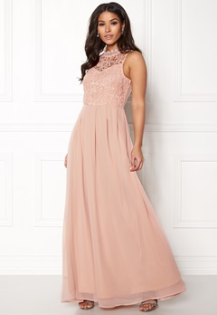 AX Paris Crochet Top Chiffon Maxi Dress Nude Bubbleroom.se