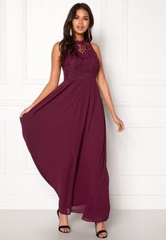 AX Paris Crochet Top Chiffon Maxi Dress Plum Bubbleroom.se