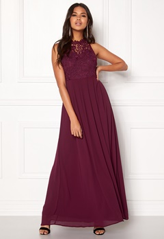 AX Paris Crochet Top Chiffon Maxi Plum Bubbleroom.se