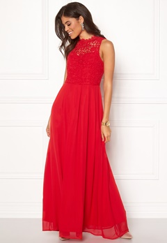 AX Paris Crochet Top Chiffon Maxi Dress Red Bubbleroom.se