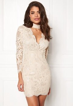 AX Paris Lace Choker Bodycon Dress Nude Bubbleroom.se