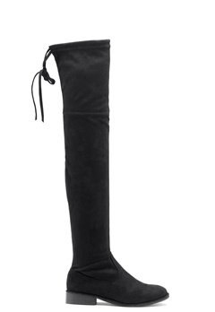 AX Paris Faux Suede High Boots Black Bubbleroom.se