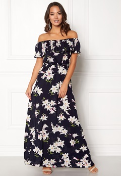 AX Paris Floral Bardot Maxi Dress Navy Bubbleroom.se