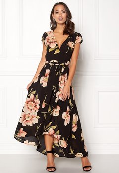 AX Paris Floral Cap Sleeve Maxi Black Bubbleroom.se