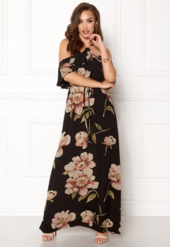 AX Paris Floral Cold Shoulder Maxi Black Bubbleroom.dk