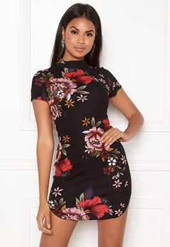 AX Paris Floral High Neck Dress Black Bubbleroom.eu