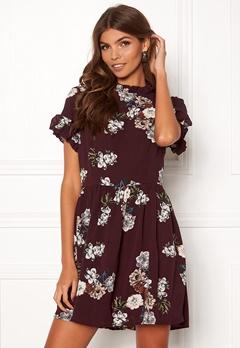 AX Paris Floral High Neck Dress Plum Bubbleroom.se
