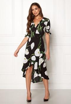 AX Paris Floral Tie Wrap Dress Black Bubbleroom.se