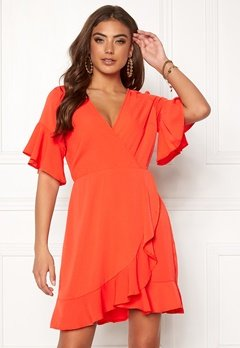 AX Paris Frill Sleeve Wrap Dress Orange Bubbleroom.se