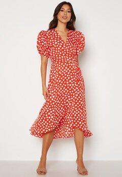 AX Paris Heart Print Midi Dress Red Bubbleroom.se