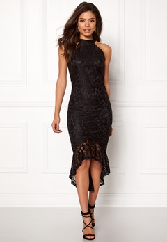 AX Paris High Neck Frill Dress Black Bubbleroom.se