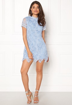 AX Paris High Neck Lace Dress Light Blue Bubbleroom.dk