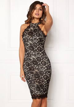 AX Paris High Neck Lace Midi Dress Black/Nude Bubbleroom.fi
