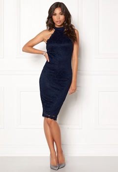 AX Paris High Neck Lace Midi Dress Navy Bubbleroom.no