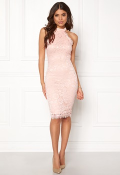AX Paris High Neck Lace Midi Dress Nude Bubbleroom.no