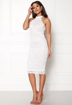 AX Paris High Neck Lace Midi Dress White Bubbleroom.se