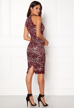 AX Paris High Neck Lace Midi Dress Wine Bubbleroom.dk