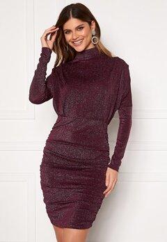 AX Paris High Neck Rouch Sparkle Dress Plum bubbleroom.se