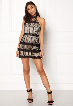 AX Paris High Neck Ruffle Dress Black/nude Bubbleroom.se