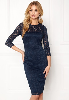 AX Paris Lace Bodycon Midi Dress Navy Bubbleroom.dk