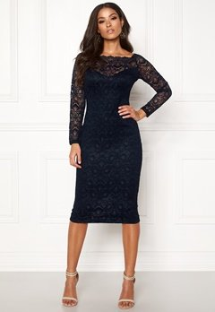 AX Paris Lace Off Shoulder Dress Navy Bubbleroom.se