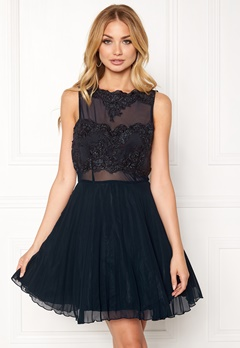 AX Paris Lace Top Skater Dress Navy Bubbleroom.dk