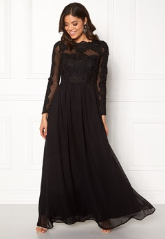 AX Paris Long Sleeve Lace Maxi Black Bubbleroom.se