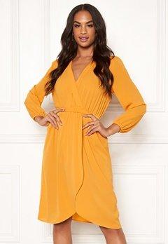 AX Paris Long Sleeve Wrap Dress Yellow Bubbleroom.se