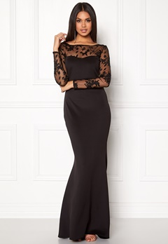 Goddiva Mesh Fishtail Maxi Dress Black Bubbleroom.dk