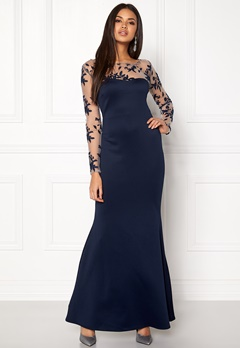Goddiva Mesh Fishtail Maxi Dress Navy Bubbleroom.se