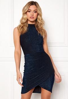 AX Paris Metallic High Neck Dress Blue Bubbleroom.se